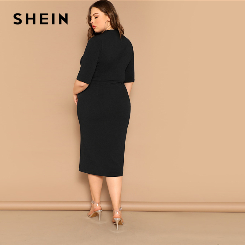 SHEIN Classy Black Plus Size Mock-neck Solid Pencil Slim Dress Women Spring Office Lady Bodycon Basics Plus Size Long Dresses 1