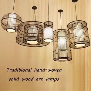 Image 4 - מודרני במבוק LED סלון תליון אורות מלון לובי מסעדת לופט מנורת תאורת חדר שינה בית תה תליית מנורת Luminaire