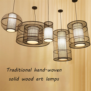 Image 4 - Modern Bamboo LED Living Room Pendant Lights Hotel Lobby Restaurant Loft  Lamp Lighting Bedroom Teahouse Hanging Lamp Luminaire