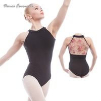 Flower Printed Mesh Cotton Ballet Leotards For Women Ballet Dancewear Adult Dance Practice Clothes Gymnastics Leotards