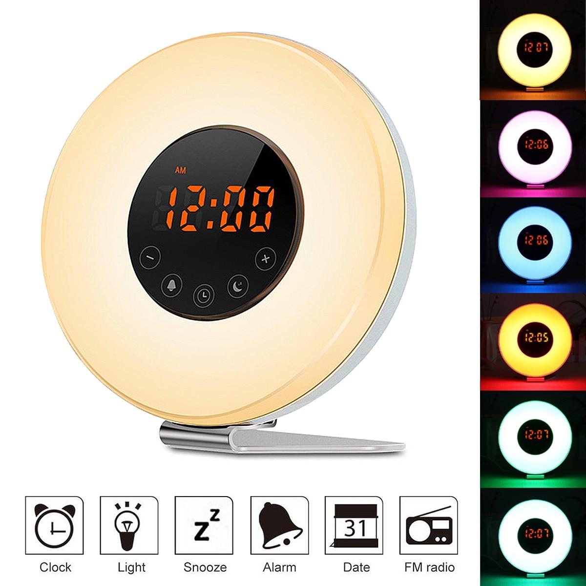 LED Wake-up Light Sunrise Alarm Clock FM Radio Bedside USB Mood Night Lamp Colorful Light Changable 7 Nature Sounds US Plug недорого