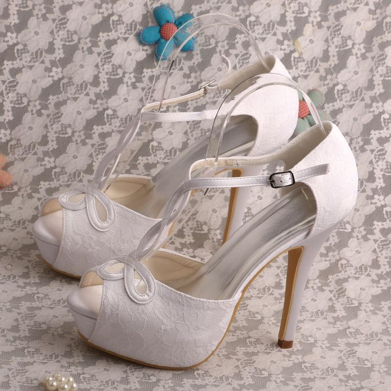 ФОТО Wedopus MW450 Women's T-strap Open Toe Platform High Heel Lace Cut out Fashion Wedding Bridal Shoes Sandals