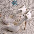 Wedopus MW450 das Mulheres T cinta-Plataforma De Salto Alto Do Dedo Do Pé Aberto Rendas cortar Casamento Moda Sapatos De Noiva Sandálias