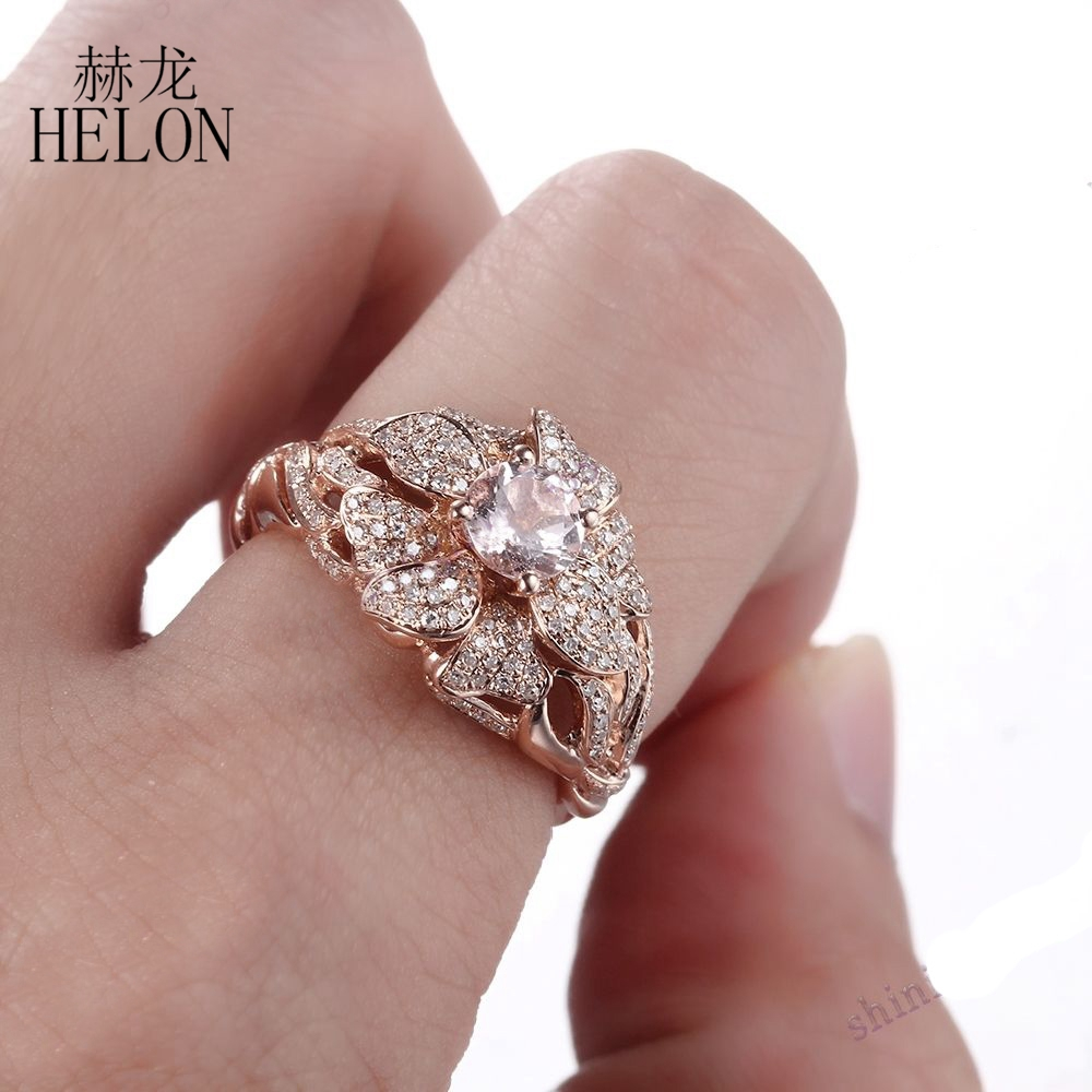 HELON Solid 14K Rose Gold Pave 0.7ct Natural Diamonds 5.5mm Round ...