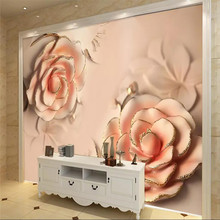 3D embossed pink rose hotel front desk wall professional production wallpaper mural custom photo