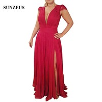 Long Red Pleated Chiffon Mother Bride Dress With Side Slit Sexy Deep V neck Women Party Dress Keyhole Back abito sposa CM0163