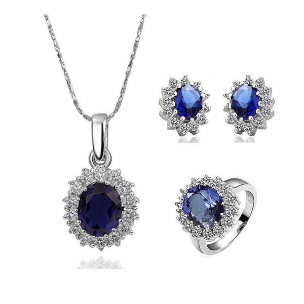 Elegant Bridal Jewellery Set 925 Silver Women Fine Drops Crystal Engagement Pendant Necklace Earrings Ring Zircon Set