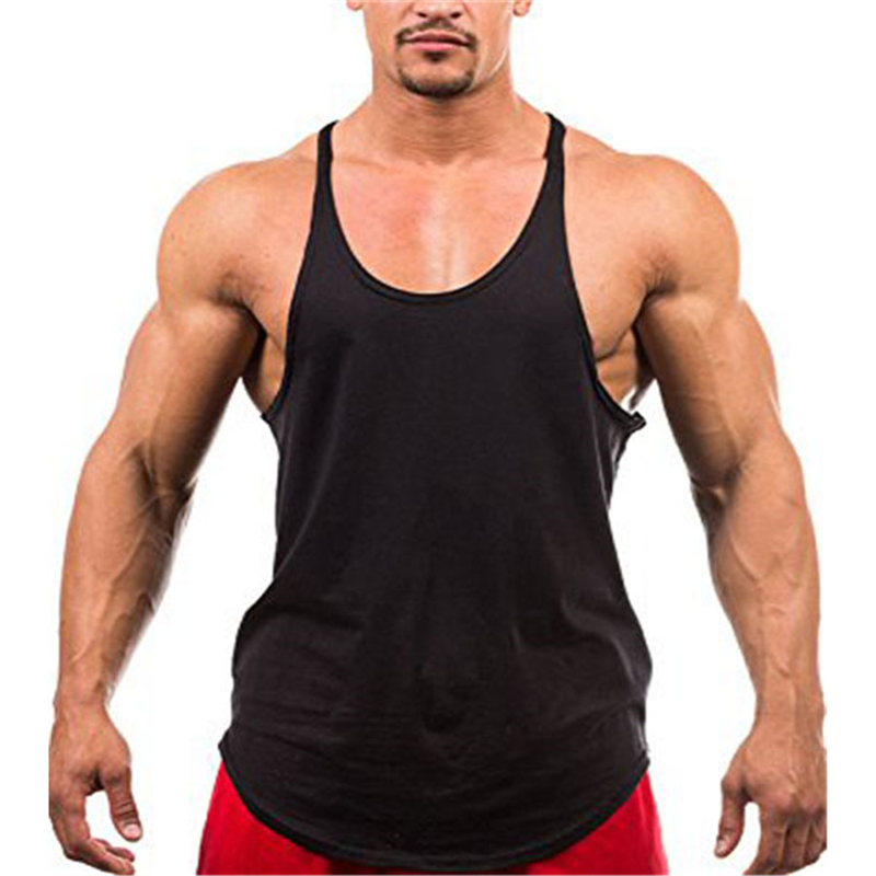 Muscleguys Blank Bodybuilding stringer   tank     top   mens solid color Y back vest gyms singlets fitness clothing sleeveless shirt