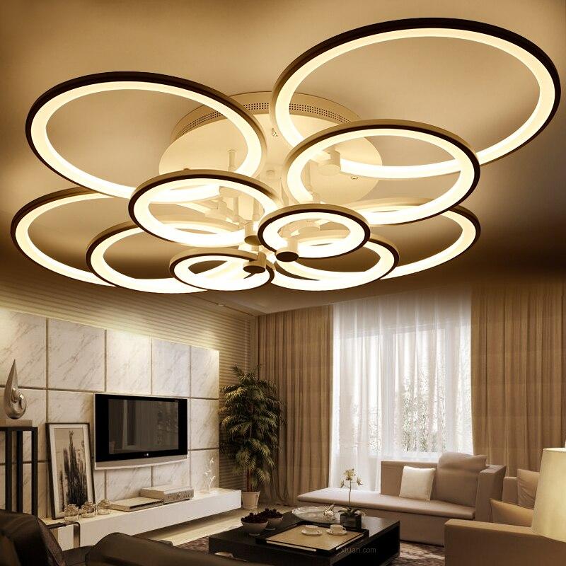 Anneaux blanc fini lustres LED cercle moderne lumières lustre pour salon acrylique Lampara de techo Éclairage intérieur