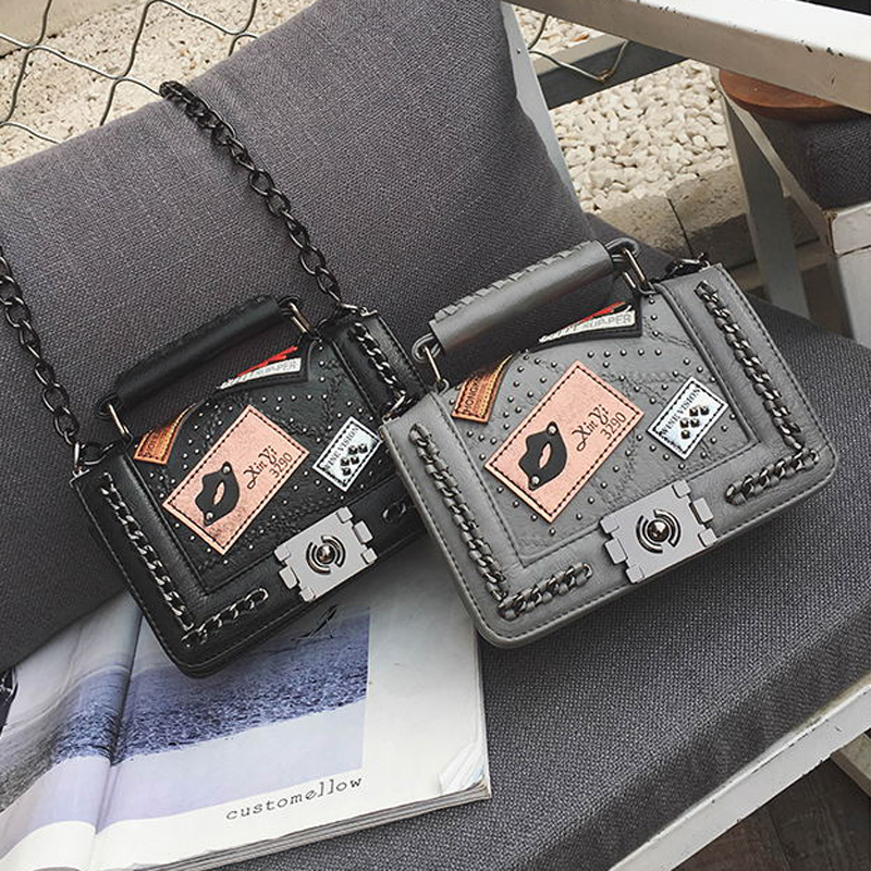 BENVICHED 2019 spring and summer new chain small square package fashion trend rivets women bag lock Messenger bag x005 in Shoulder Bags from Luggage Bags