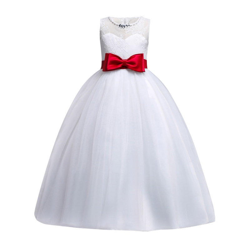 Girls Sleeveless Lace Bow Girls Dress Pageant Wedding Dress Formal Occassion Ball Gown for Wedding Party Girls Tulle Dress