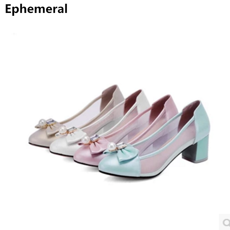 women pink white wedding shoes high heels round toe pumps clear slip ons crystal bow