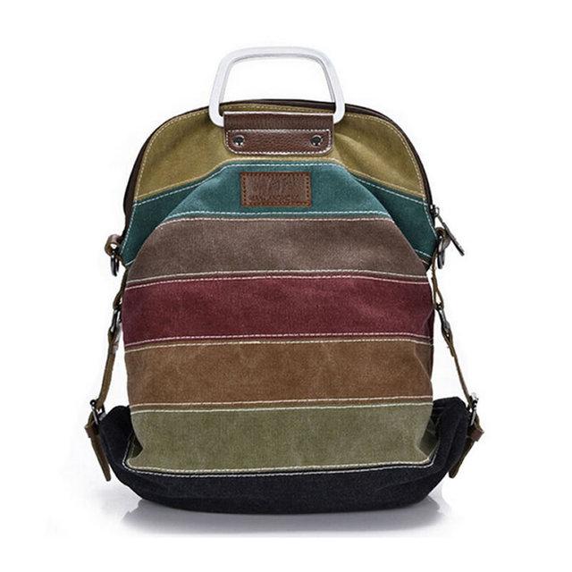 Ethnic Rainbow Women Backpack Canvas Stripe Rucksack Multifunction Girls Crossbody Bag Fashion School Bag Bolsas Mochila XA191L