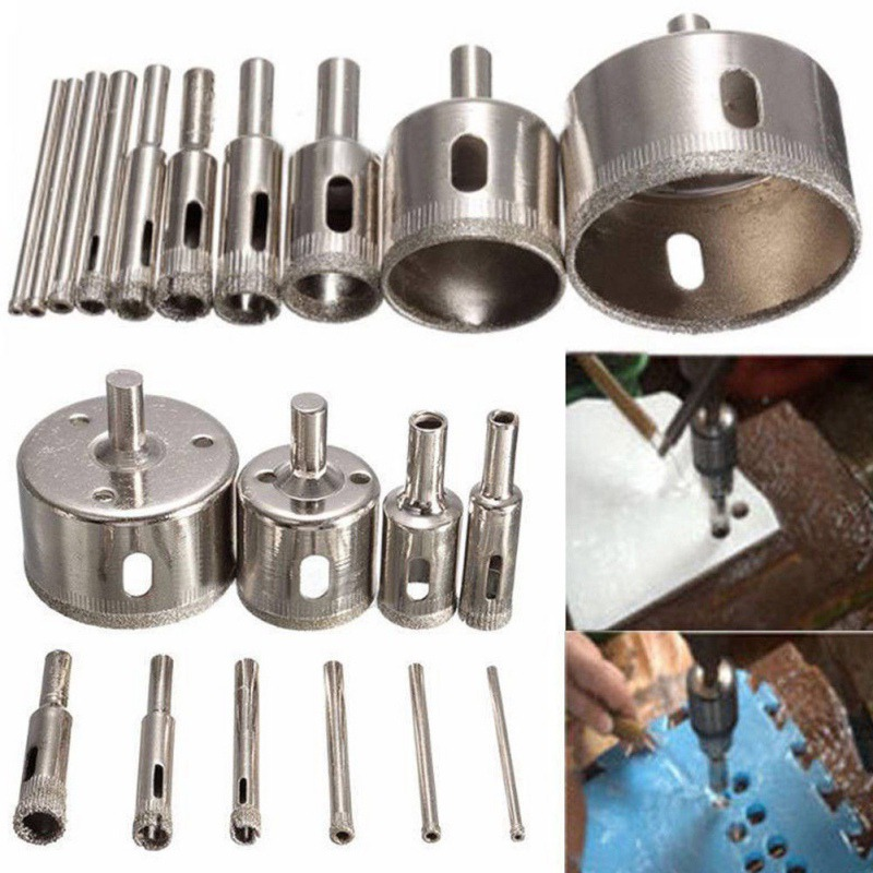 цена на Hot Sale 4mm-30mm Diamond Coated Core Hole Saw Drill Bit Set Tools for Tiles Marble Glass Ceramic