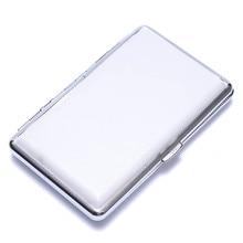 Women Lady Thin Slim Faux Leather Wiredrawing Cigarette Case Box Holder White Women Cigarette Case Holder
