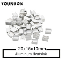 10Pcs YOUNUON Silver Aluminium TO-220 Heatsink TO 220 Heat Sink Transistor Radiator TO220 Cooler Cooling 20*15*10MM hy1808 to 220