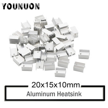 10Pcs YOUNUON Silver Aluminium TO-220 Heatsink TO 220 Heat Sink Transistor Radiator TO220 Cooler Cooling 20*15*10MM mc7805ctg to 220