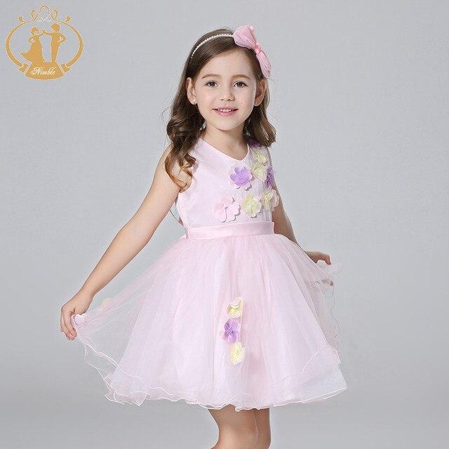 757427d3d Vestido de princesa Nimble para niñas vestido fino ligero de Organza  apliques flores fajas vestido para