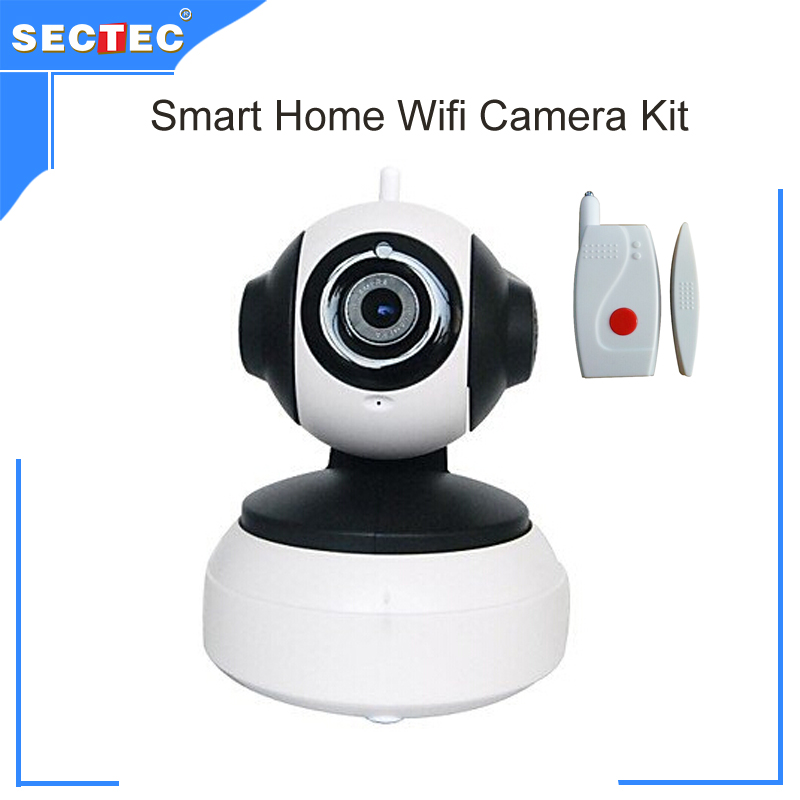 ФОТО Whole Sale and Retail Mobile APP Yoosee Smart home wifi IP Camera Kit for Home Security support SD Card with 2pcs door sensor