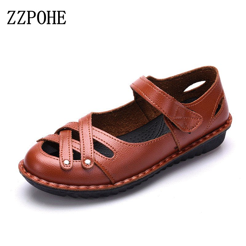 ZZPOHE 2017 Summer Female Shoes Woman Genuine Leather Soft Flat Sandals Women Fashion Causal Comfortable big size Sandals 35-41
