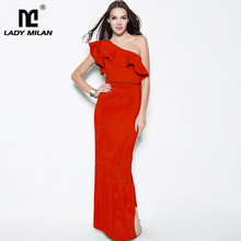 Lady Milan Womens Sexy One Shoulder Ruffles Layered Split Fashion Prom Gown Elegant Long Party Dresses Summer Runway