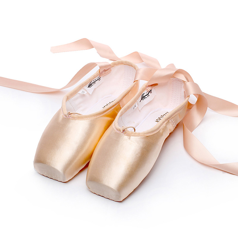 Show details for 31-42W Satin Canvas Pointe Shoes with Ribbon and Gel Toe Pad Girls Women's Pink Professional Ballet Dance
