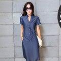 Ropa de mujer de Verano 2016 del Dril de algodón Vestido de Las Señoras Camisa de Manga Corta más el Tamaño Azul Casual Largo Maxi Túnica Mujer Vaqueros Vestidos S2038