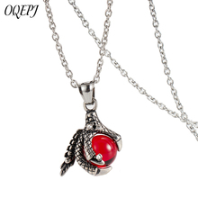 купить OQEPJ Classic Dragon Claw Red Black Blue Crystal Ball Necklace&Pendant Stainless Steel Animal Men Necklace High Polished Jewelry по цене 278.76 рублей
