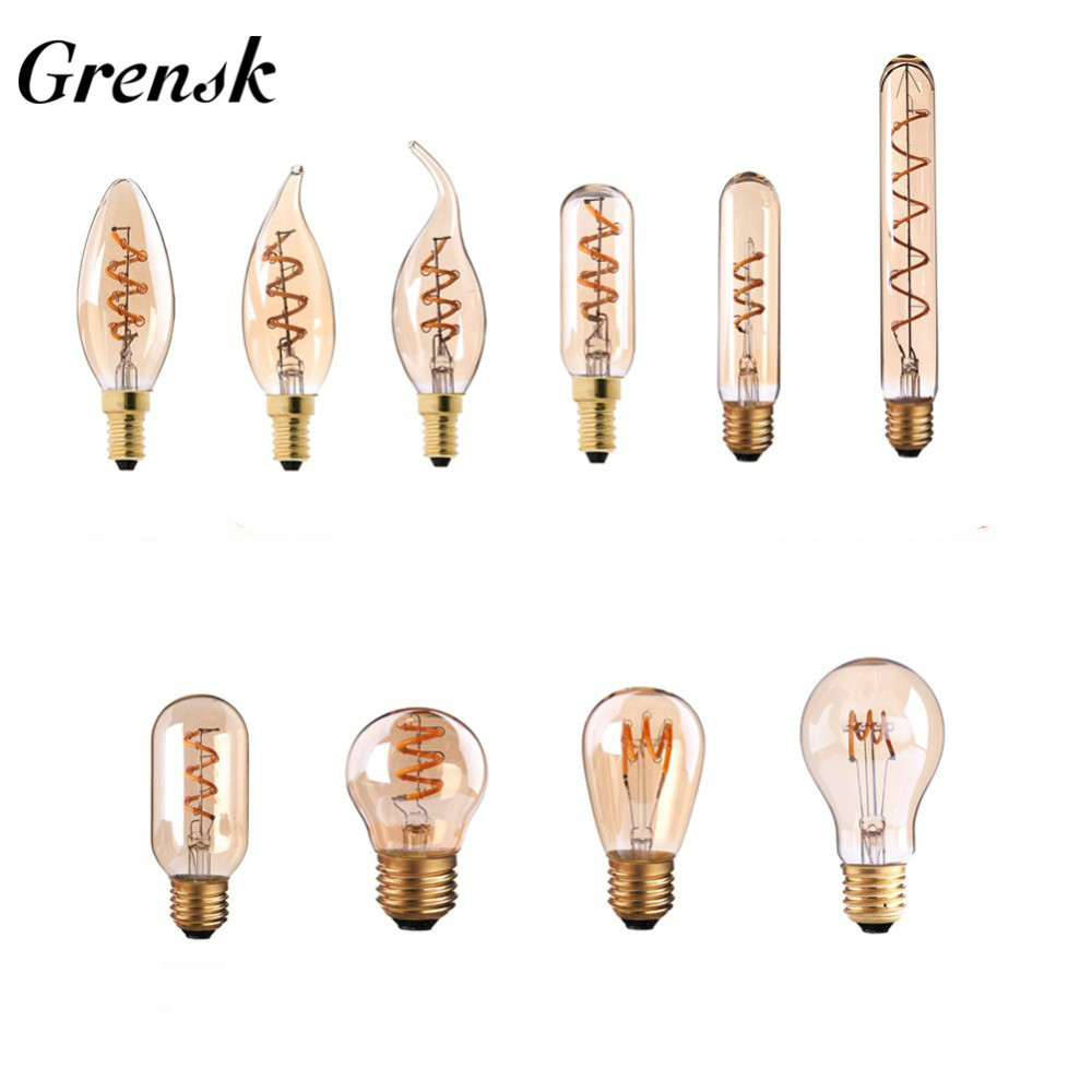 Grensk G45 LED Edison Spiral Light Bulb E27 Dimmable Vintage Filament Briliant Light Bulb Ampoule E14 220V Retro Candle Lamp T30