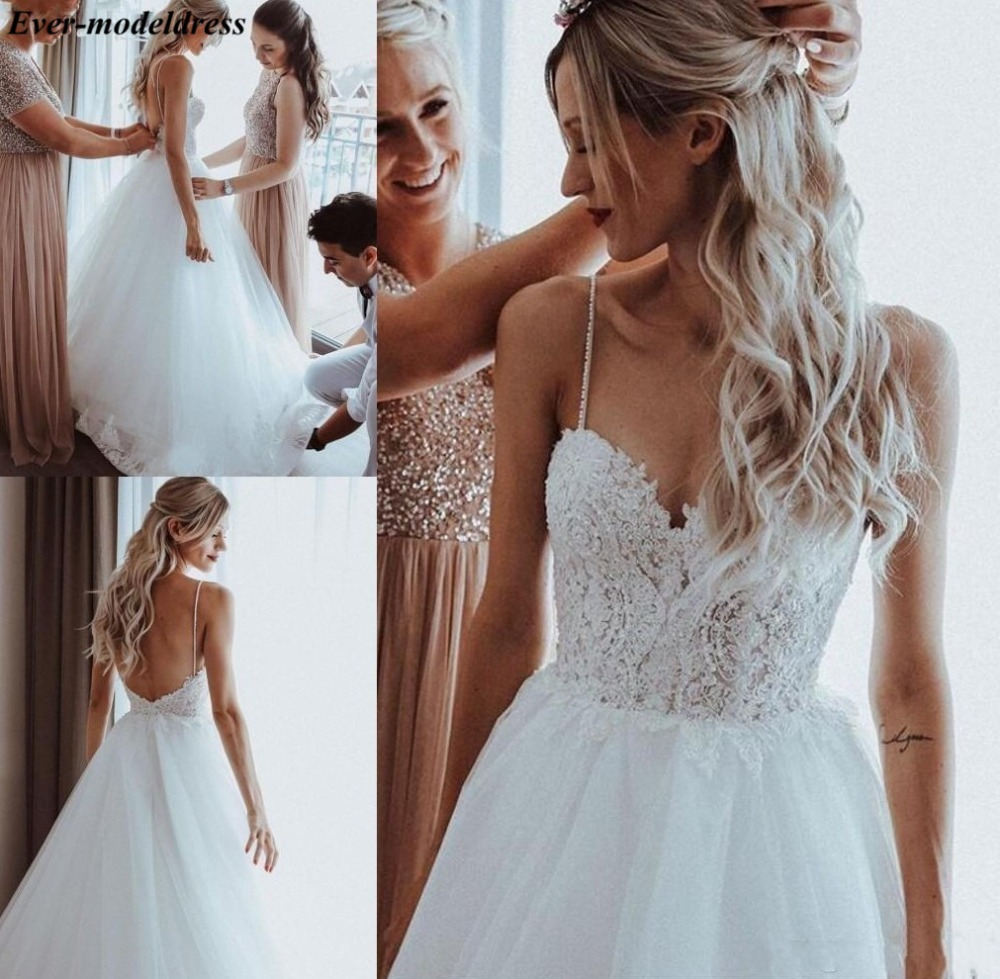 Beach Wedding Dresses 2019 Backless Lace Appliques Pearls Spaghetti Straps A-Line Boho Bridal Gowns Robe De Mariee Cheap