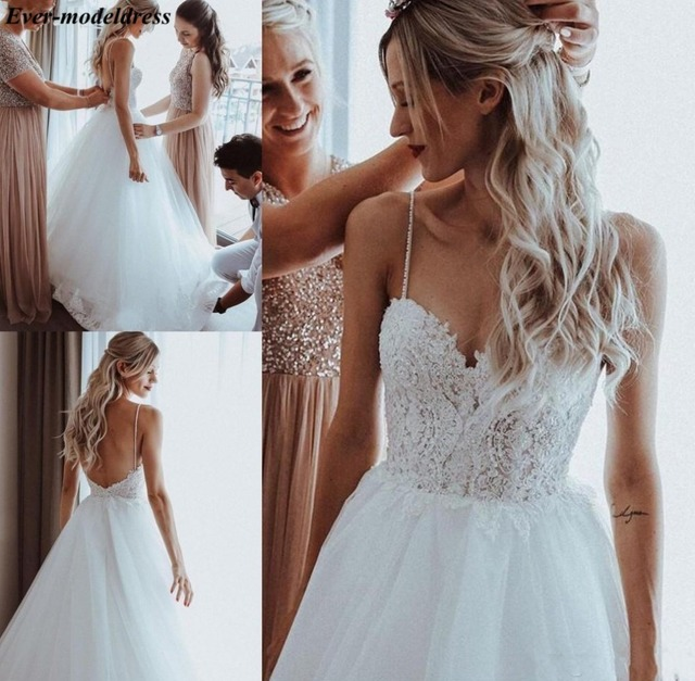Boho Wedding Dresses 2021 Backless Lace Appliques Pearls Spaghetti Straps A-Line Beach Bridal Gowns Robe De Mariee Cheap