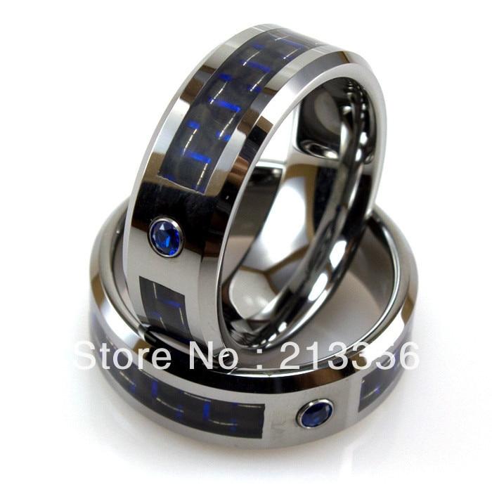 Prix pas cher livraison gratuite 2013 USA vente chaude 8 MM argent carbure de tungstène anneau avec Fiber bleue et bleu Cz hommes bague de mariage