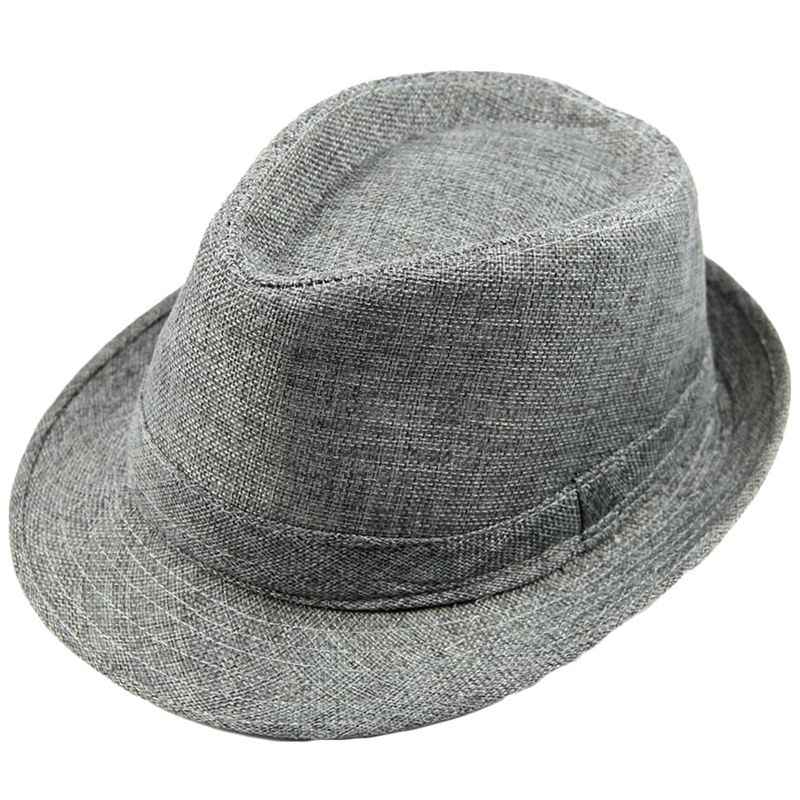 Hombres Mujeres Unisex verano playa sombrero sol Jazz Panama gángster gorra  Trilby Fedora Beige 14f0f431dc6