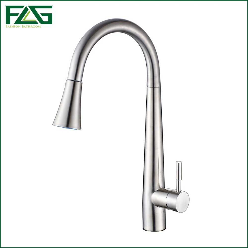 FLG Pull Out Kitchen Faucet 304 Stainless Steel Pot With Tap All Around Rotate Swivel 2-Function Water Outlet Grifo Lavabo CS003