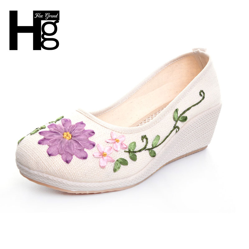 HEE GRAND Plus Size 35-40 Women Wedge Shoes Round Toe Beautiful Manual Flower Rubber Sole Shoes for Woman XWD5300 shoulder cut plus size flower blouse