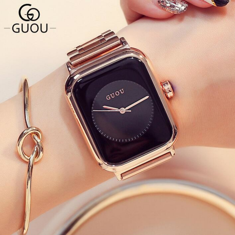 GUOU Luxury Brand Quality Watch Rose Gold Women Watches Rectangle Full Steel Bracelet Clock montre femme relogio femmes montres genuine leather woman size 9 designer yinzo vintage flat shoes square toe handmade brown beige red oxford shoes for women 2018