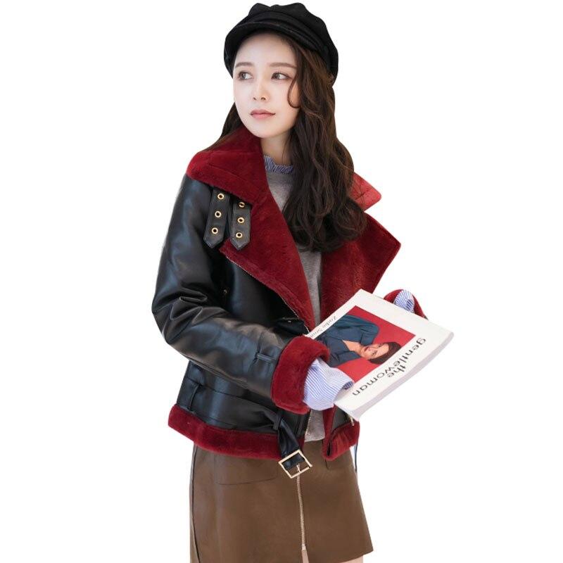 Winter Lambswool Women Wool Leather Coat 2017 New Large-size Padded Warm Female Woolen Jacket Fashion manteau femme hiver Z250