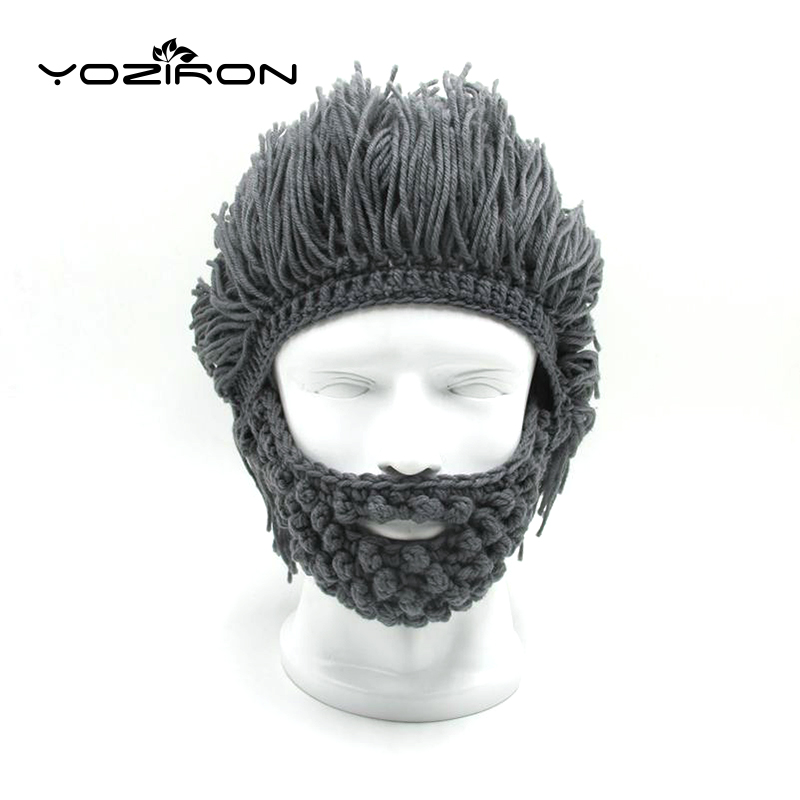 Handmade Beard Wig Winter Beanie Hat Hobo Mad Scientist Caveman Knitted Caps  Men Women Halloween Gifts Ski Mask woolen yarn imitated wig knitted beard face hat for men and women