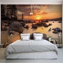 Nature Landscape Sunset Nightfall River Scenery Photo Mural for Bedroom Living Room Wall Decor Non-woven Customized 3D Wallpaper