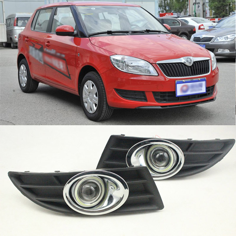 Ownsun COB Angel Eye Rings Projector Lens with 3000K Halogen Lamp Source Black Fog Lights Bumper Cover For Skoda Fabia 2012-2014 ownsun innovative super cob fog light angel eye bumper cover for skoda fabia scout