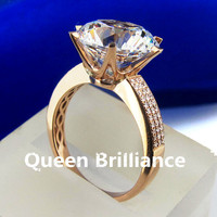 Luxury TRANSGEMS 3 Carat Ct EF Colorless Clear Lab Grown Moissanite Ring With Real Diamond Accents