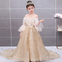 2019New Children Girls Luxury Shoulderless Champagne Color Dreaming Wedding Birthday Party Long Tail Princess Dress Host Clothes