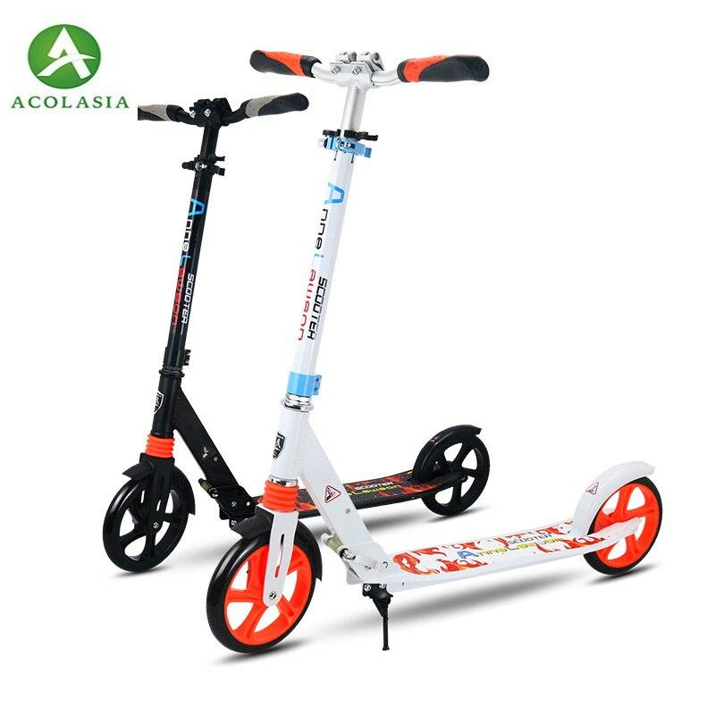 2 roues en alliage d'aluminium pour adultes enfants adultes Mini vélo Portable pliant trottinette Scooter 200mm hauteur réglable