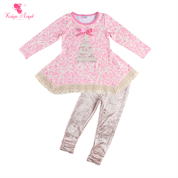 Kaiya Angel Autumn Winter Baby Girls Clothing Sets Floral Long Sleeve T-shirt Tops + Velvet Pants 2pcs Kids Boutique Outfit