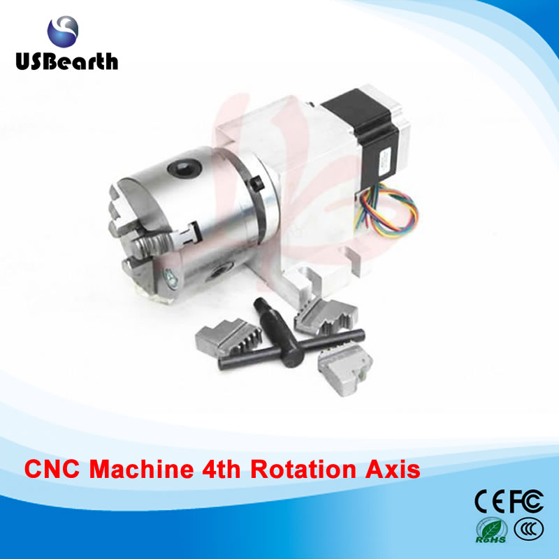 Rotary axis 14-100-80A  80mm 3 jaw chuck for mini cnc router цена и фото