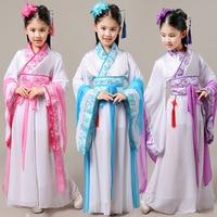 2017 Autumn Girls Traditional Chinese Dance Costumes Children Green Sleeve Fan Hanfu Dress Kids Clothing Ancient