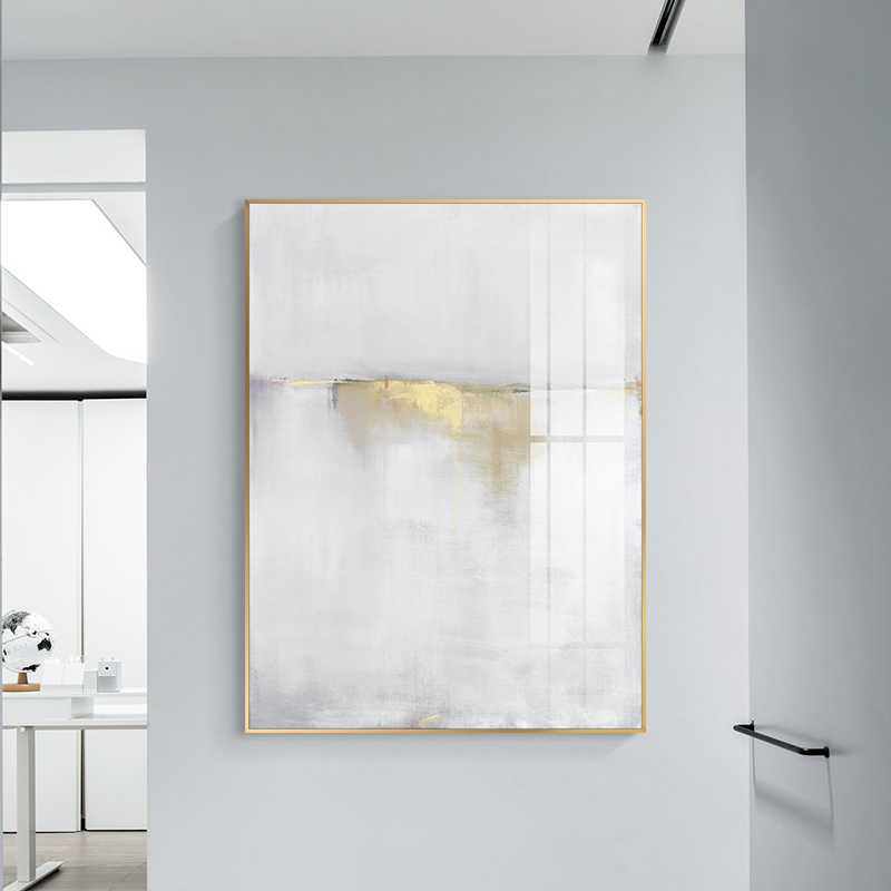 Abstract White light gold Canvas Painting Posters Prints Minimalist style Wall Art Pictures For Living Room Bedroom Aisle Studio