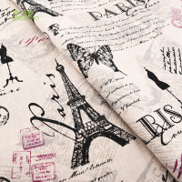 Printed Cotton Linen Fabric For Quilting DIY Sewing Sofa Curtain Bag Cushion Furniture Cover Material Eiffel