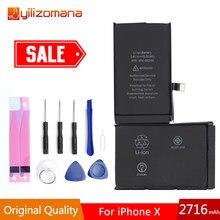 YILOZOMANA oryginalna pojemność baterii telefonu 2716mAh dla iPhone X akumulatorki zamienne z bezpłatnych narzędzi w opakowania detalicznego
