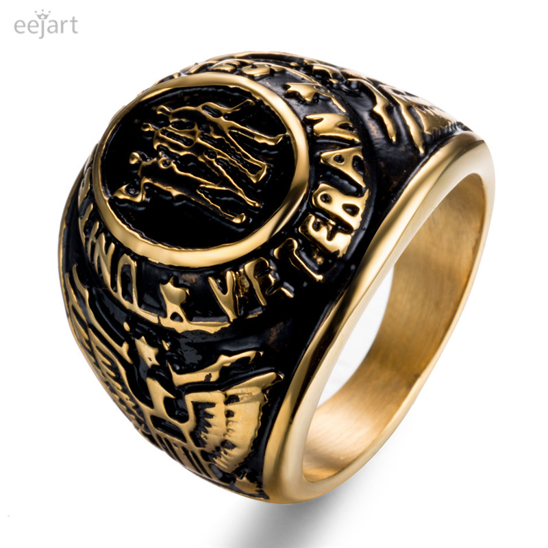 Men`s United States US Army Military Veteran Stone 316L Stainless Steel Ring